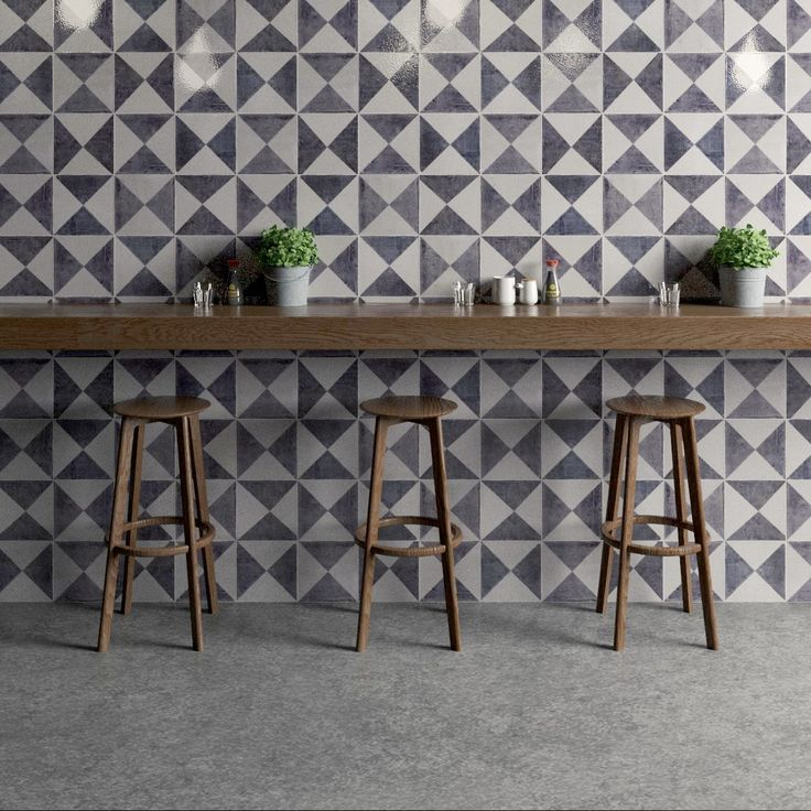 Gorgeous grey geometric tiles by Bert & May as seen on Beautiful Kitchen's blog, kitchensourcebook.co.uk