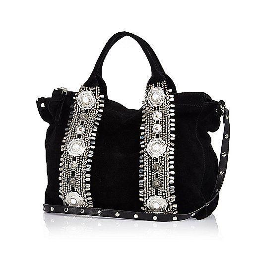 Zwarte suède bowlertas met versiering - shopper/draagtassen - tassen/portemonnees - dames