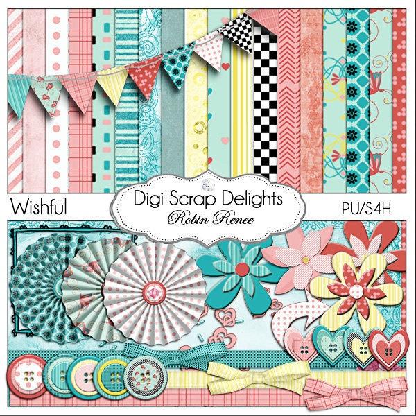 Wishful Digital Scrapbook Kit in Lovely Turquoise Blue, Pink & Yellow - Buy 2 Get 1 Free
