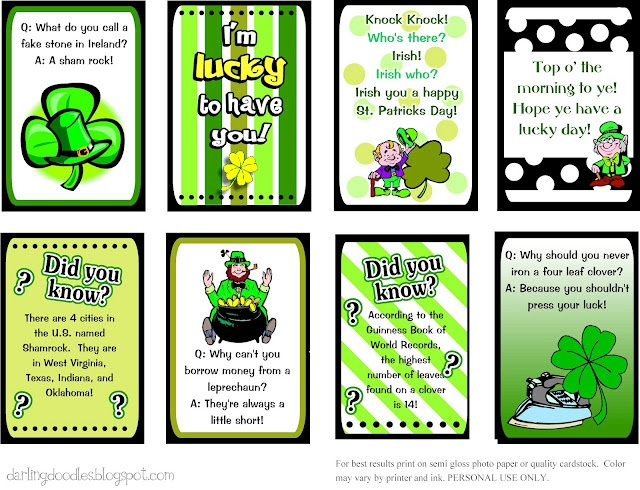 St. Patricks Day Lunch Box Notes