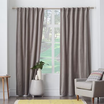 Velvet Pole Pocket Curtain - Dove Gray  DR CURTAINS A SHADE DARKER THAN THUNDERCLOUD WALLS...CURTAINS ALWAYS OPEN...
