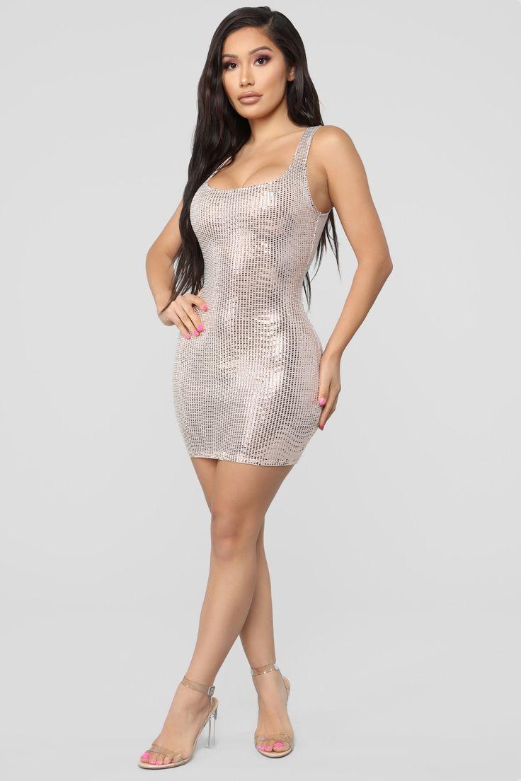 She Shinin' Metallic Mini Dress - RoseGold 2