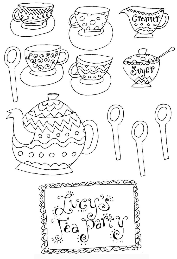 27 best tea party coloring pages images on pinterest