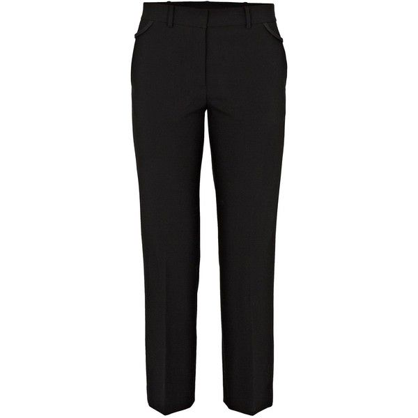 HELMUT LANG Bonded Trouser (2,030 ILS) ❤ liked on Polyvore featuring pants, capris, black, black stretchy pants, stretchy pants, stretch wool pants, cropped pants and black crop pants