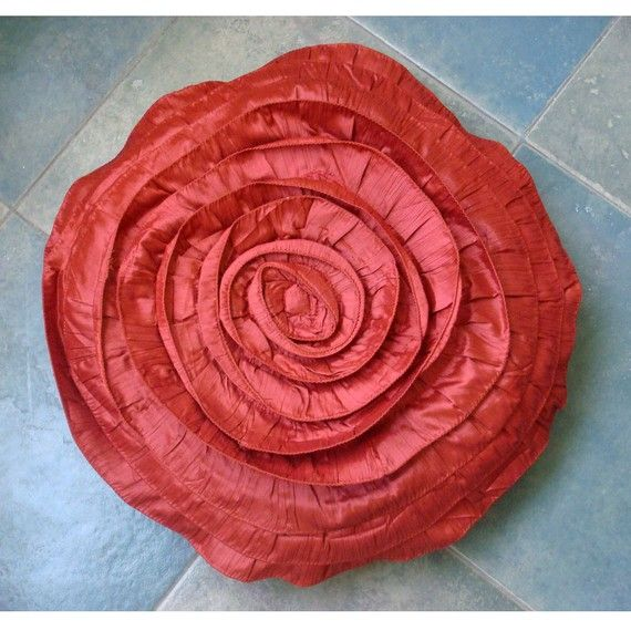 Rust Rose  Throw Pillow Covers  18 Inches Round by TheHomeCentric