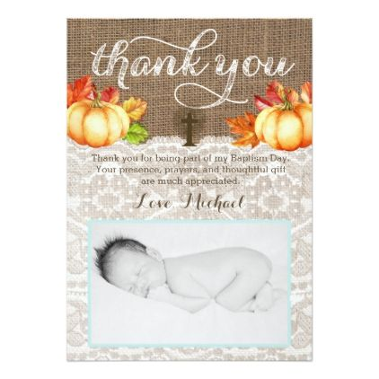 Fall Christening Thank You Cards for Boy Pumpkins - invitations custom unique diy personalize occasions