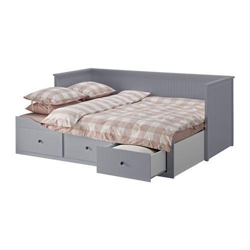 HEMNES Bedbank met 3 lades/2 matrassen - grijs/Moshult stevig - IKEA