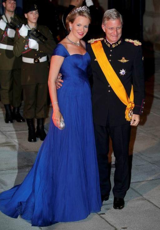 Príncipes Philippe e Mathilde da Bélgica - Jantar de gala para comemorar casamento real do Grão Duque Guillaume do Luxemburgo e Stéphanie de...