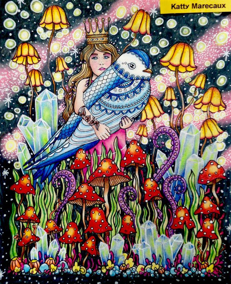Helemaal af . Kon mijn fantasie lekker laten gaan. Komt uit Dagdromen van Hannah Karlzon en gekleurd met Prismacolors en witte posca.