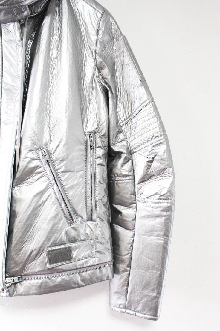 Vintage Helmut Lang Astro Moto Jacket A w 1999 Metallic Silver Unisex Italy 42 | eBay