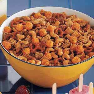 Cheese Ball Snack Mix (kind of has a chili-cheese vibe going on) sounds delicious!