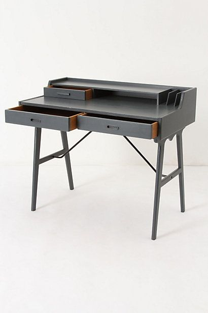 I love writing desks. Chinese Red painted inside drawers would make this gray beauty even sweeter. #Anthropologie #Writing Desk #Rue magazine
