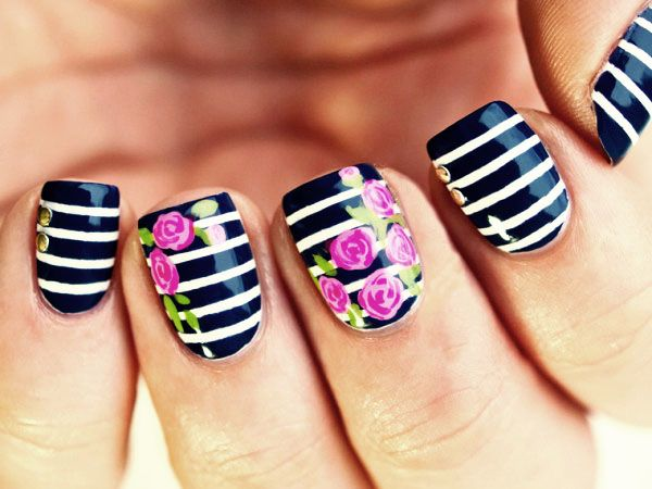Awesome Pink Rose with with Stripped Blue and white Nailart