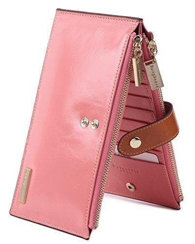 Borgasets RFID Blocking Women's Genuine Leather Wallet Credit Card Hol – D…
