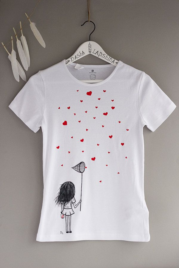 Hand painted Women T-shirt with a girl with scoop-net and hearts, gift for her, love t-shirt, black white t-shirt, red hearts: Catching love by SpringHoliday on Etsy