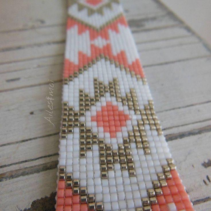 #ailesetmoi #manchette #miyuki #miyukiaddict #delica #tissage # bracelet #handmade #diy #corail
