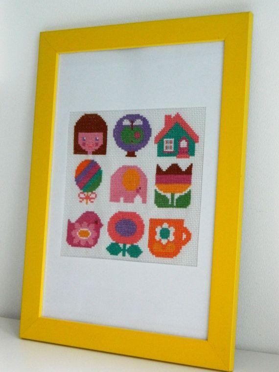 Original Retro Cross Stitch PDF Pattern by alice apple - Motif Patterns for Girls. £3.50, via Etsy.