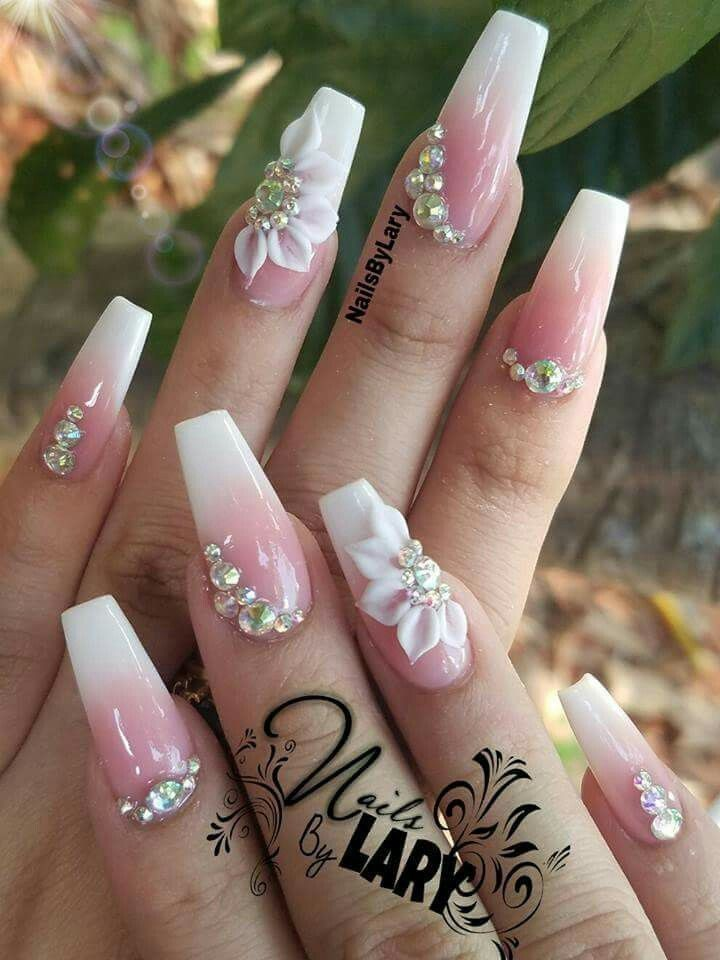 Ballerina Nails Ombre 3d Nail Art With Rhinestones Acrylic Styles 3 D Nail Designs Nail D Rhinestone Nails Nails Design With Rhinestones Coffin Nails Designs