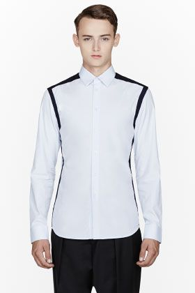 Givenchy Blue Contrast-trimmed Shirt for men | SSENSE