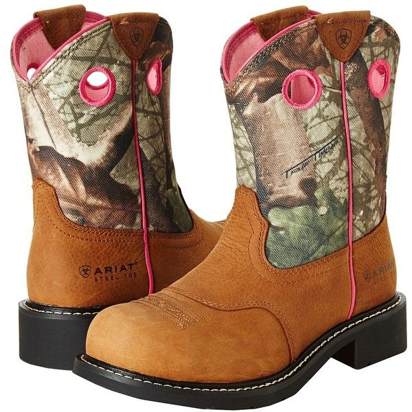 Ariat Fatbaby Cowgirl Steel Toe (Toasted Auburn/Camo) Cowboy Boots ($105) ❤ liked on Polyvore featuring shoes, boots, mid-calf boots, camo boots, steel toe boots, platform boots, slip resistant boots and western cowgirl boots