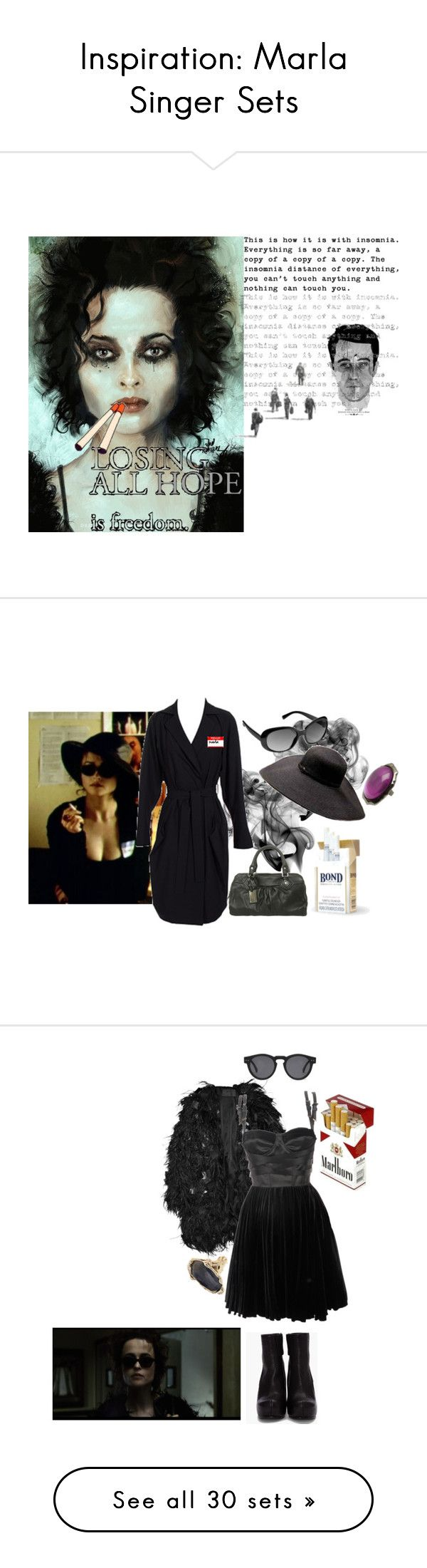 """Inspiration: Marla Singer Sets"" by skeletorsmom ❤ liked on Polyvore featuring art, book, fight club, tyler durden, chuck palahniuk, smoking, quotes, film, marla singer and Jil Sander"