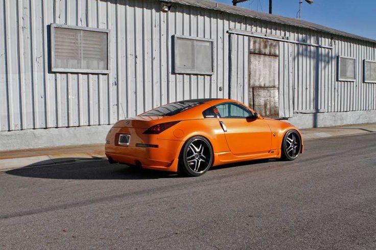 #Nissan #350z #370z #Modified #Lowered #Bagged #Slammed #Verde #Custom #Rims #Wheels #Orange