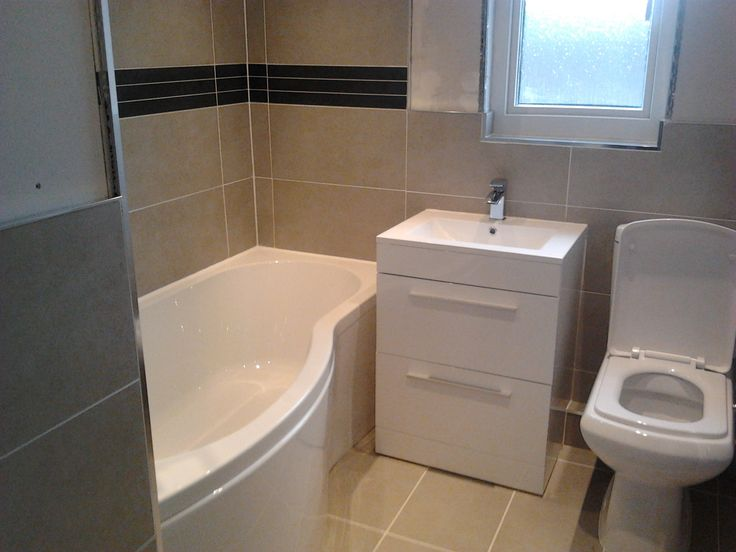 Another image of same width bathroom with shower bath, drawer unit and WC  Gives you an idea of space