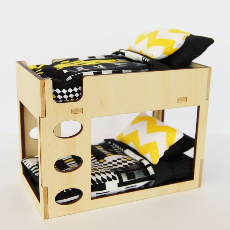 Fit more occupants in your dollhouse with this modern Bunk Bed and Bedding Set, inspired by the IKEA bunk beds. Set includes: ~ A Bunk Bed,...