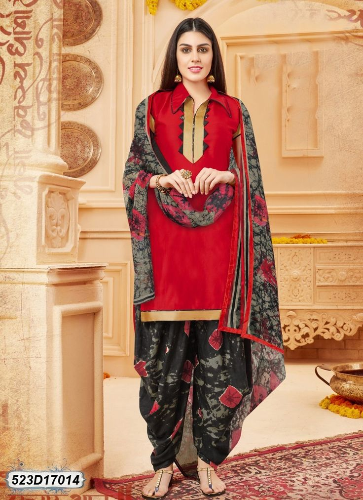 Buy Stunning Black and Red Colored Glace Cotton Salwar Suit Get 30% Off on Designer Salwar Suits From Leemboodi Fashion with Free Shipping in INDIA Now Available on Cash On Delivery