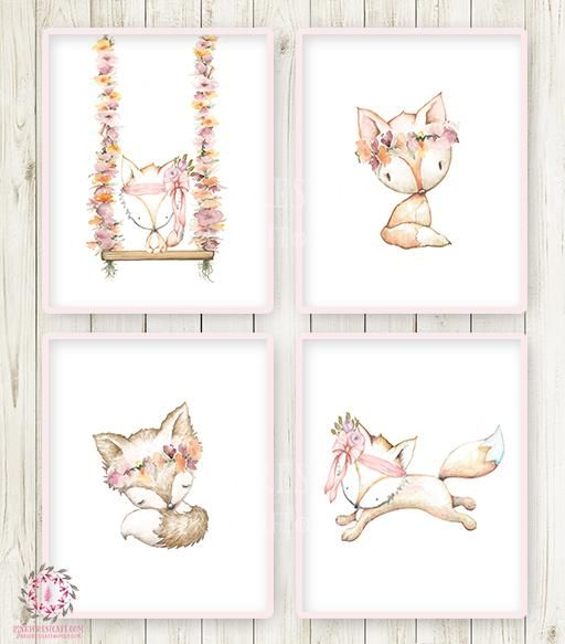 4 Fox Floral Woodland Boho Wall Art Print Bohemian Nursery Baby Girl Room Set Lot Prints Printable Home Decor