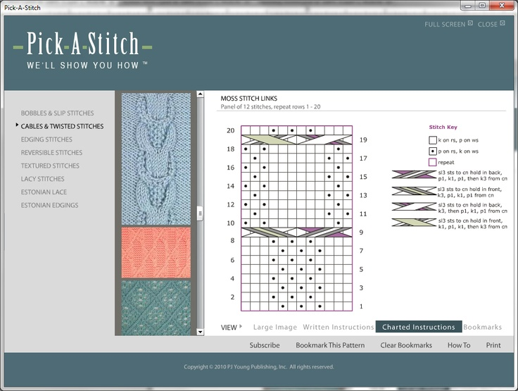 Large, easy to read charts are included for every stitch, along with written instructions.  You can print them out and take them with you; they fit in your knitting bag.
