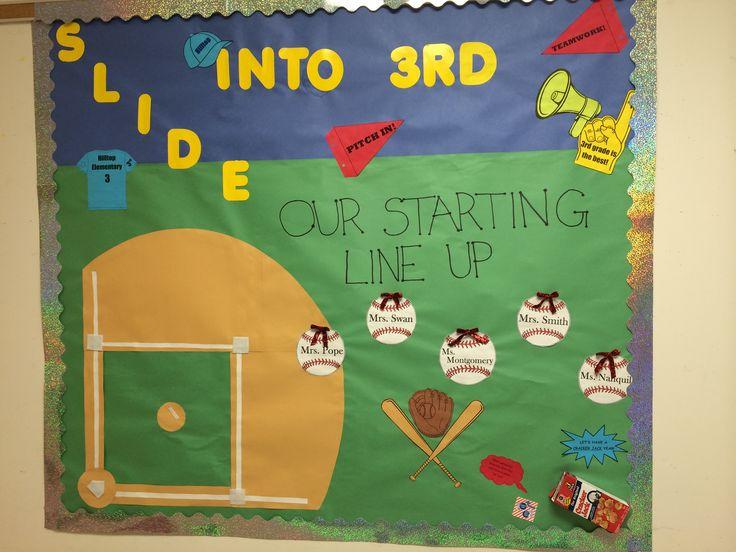 Baseball themed bulletin board for back to school