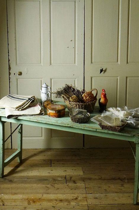 アンティーク フォールディングテーブル(ミントブルー) French Vintage Folding Table