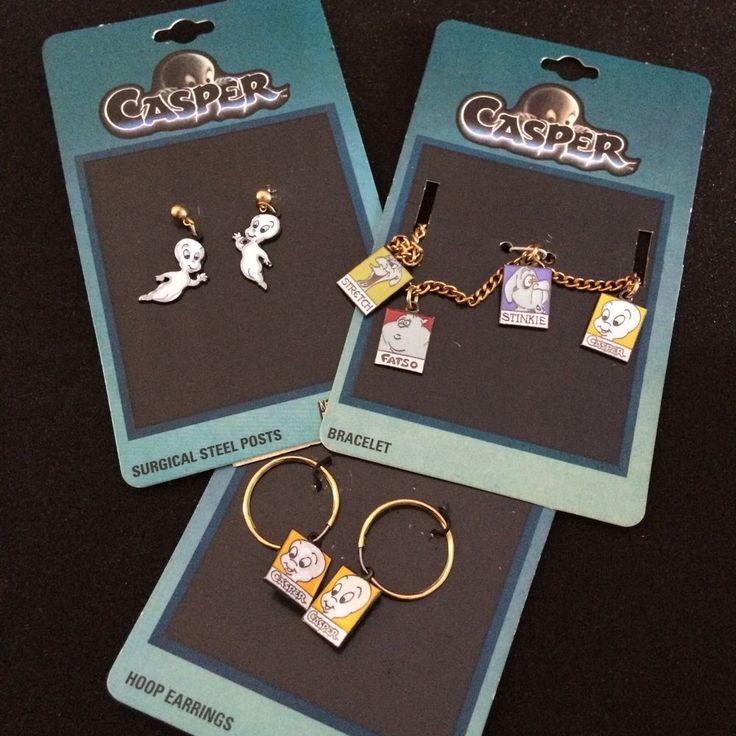 Vtg Casper Ghost Charm Bracelet & Two Sets of Earrings Unused 1995 Hoop…