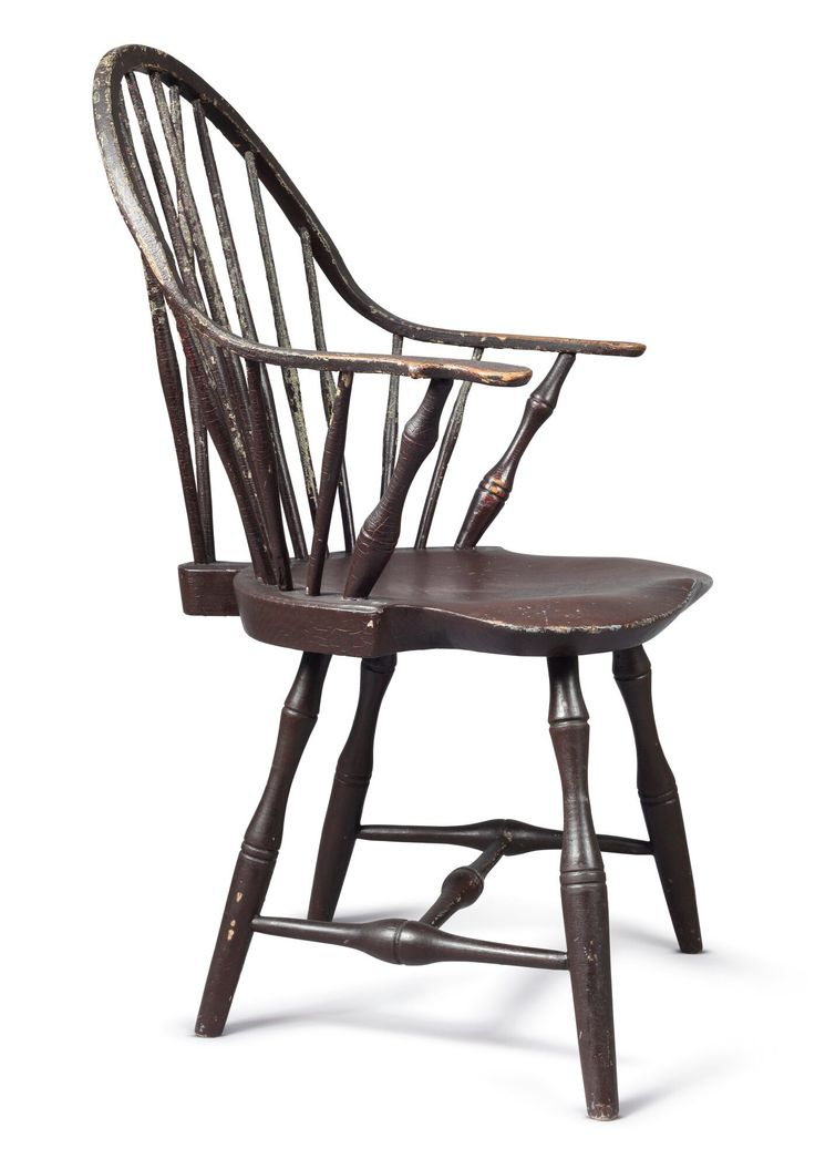 Brownpainted continuous arm windsor chair ebenezer tracy