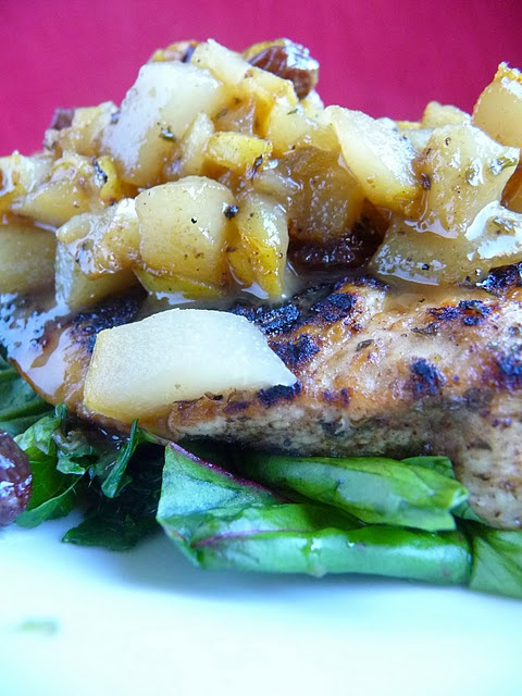 seared chicken with pear sauce | EDFL | Pinterest