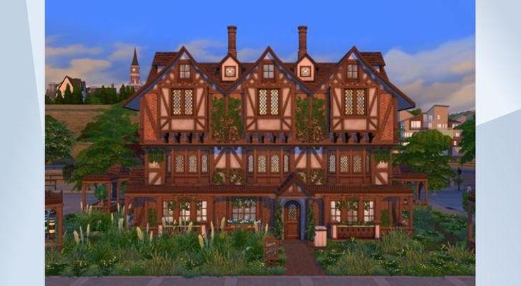 Взгляните на этот участок в Галерее The Sims 4! - Tudor-style restaurant with a small hostel for your sims. NoCC. By Oloriell (http://lorisims.net) #tudor #classic #restaurant #golden #lion #hostel #oloriell #lori #sims #noCC #traditional