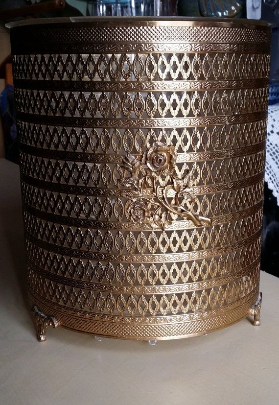 Vintage Gold Filigree Wastebasket Midcentury by JewelsRosesNRust