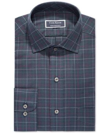 Club Room Men Slim-Fit Stretch Small Twill Multi Gingham Dress Shirt