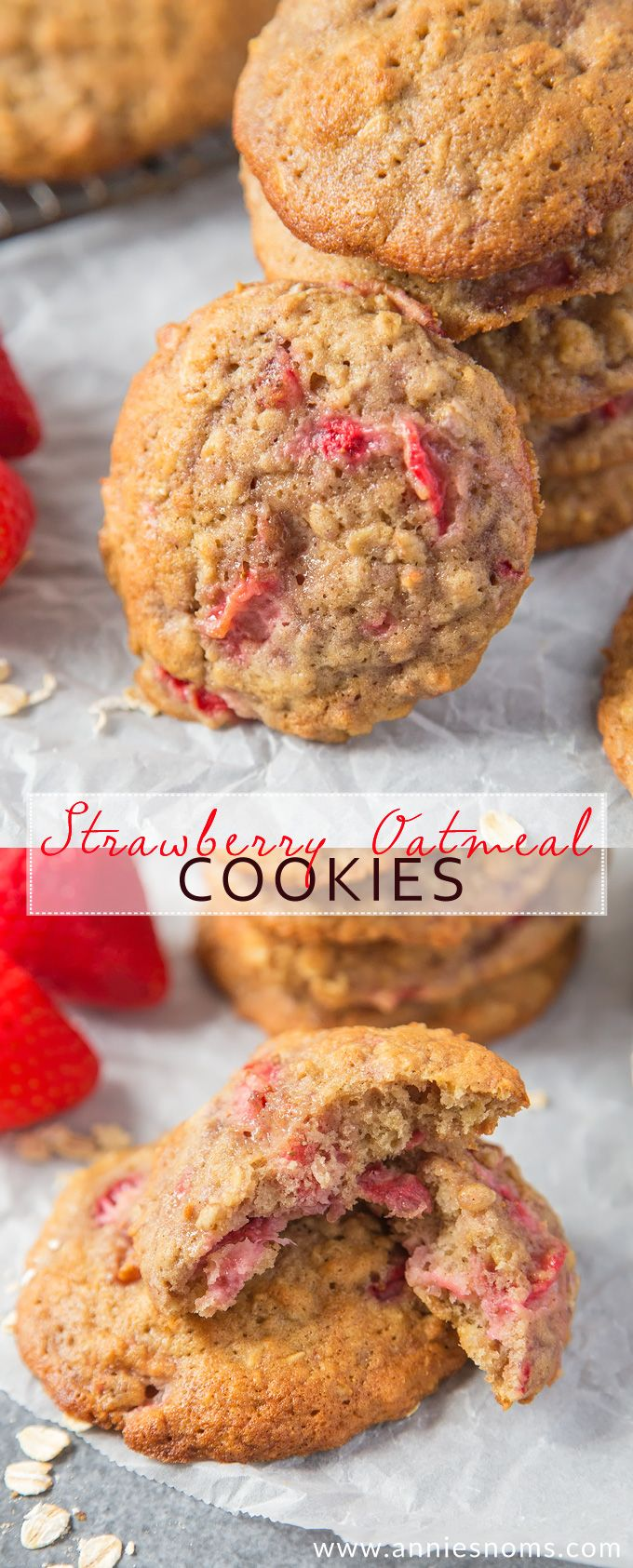 These soft and chewy Strawberry Oatmeal Cookies are jam packed with flavour and plenty of fresh strawberries! The perfect accompaniment to your afternoon coffee!