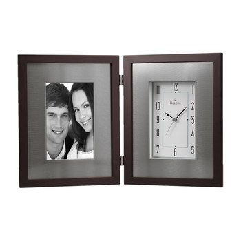 Bulova Winfield Aluminum Wood Picture Frame Desk Clock B1234