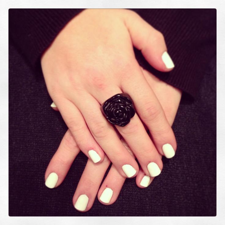 White shellac nails