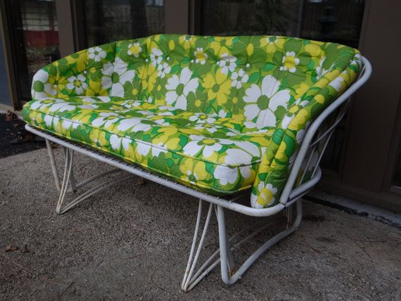 Vintage Mid Century Homecrest Loveseat Glider White Metal Wrought Iron Outdoor With Original Cushions 1968 Green