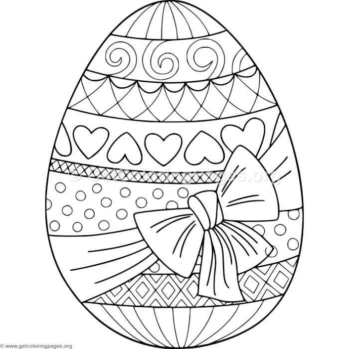 Gift Wrapped Easter Egg Coloring Pages