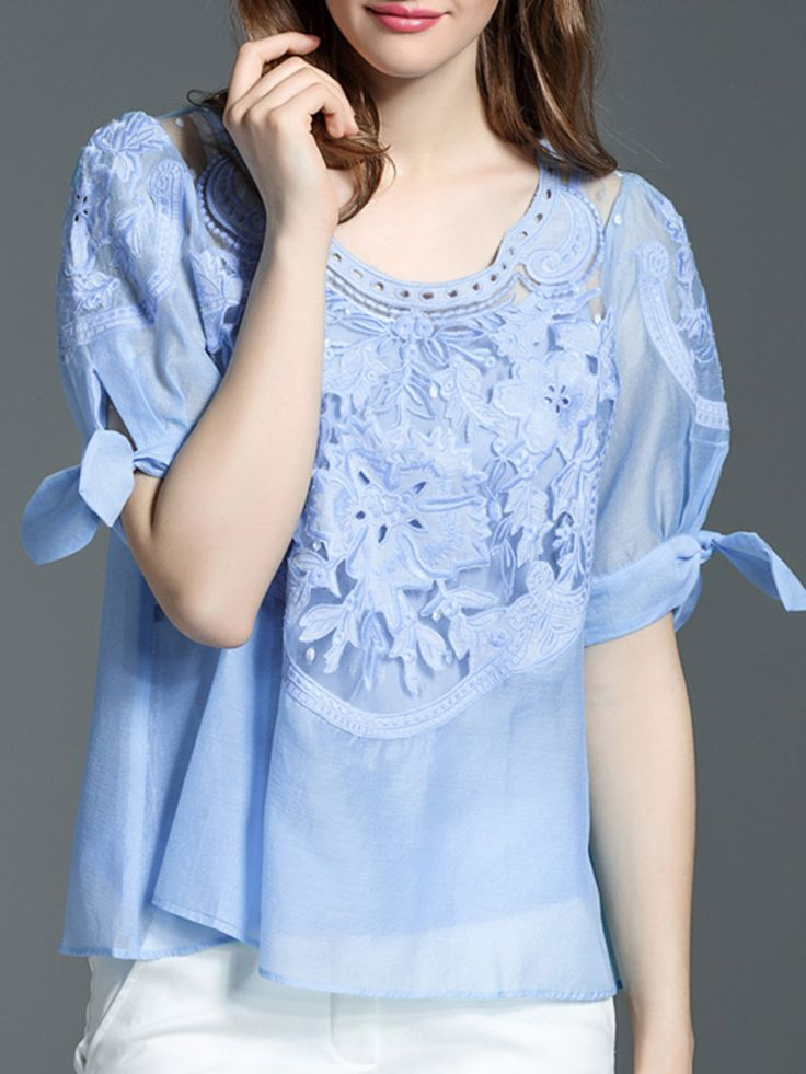 #AdoreWe #StyleWe Tops - MOSICOCO Light Blue Two Piece Crew Neck Casual Embroidered Blouse - AdoreWe.net