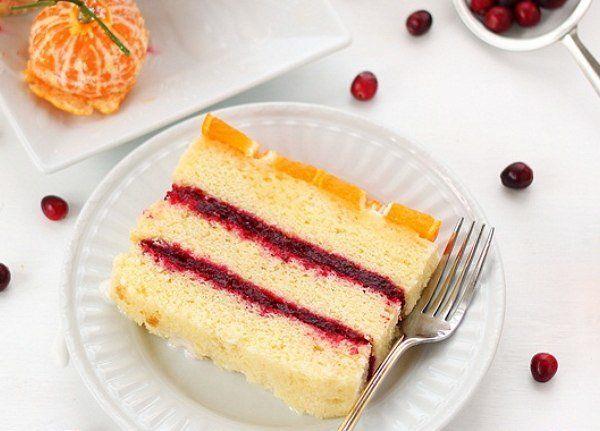 Цитрусовый торт с клюквенной начинкой