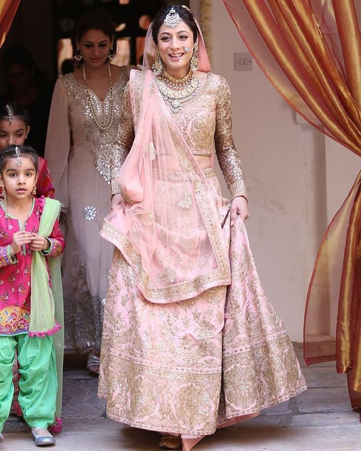 """WeddingSutra.com on Instagram: """"Writer and Actress @SukhmaniSadana looked ethereal in a blush pink embellished lehenga for her Anand Karaj teamed with gorgeous gold and pearl jewellery at Samde Palace,"""