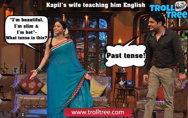 Kapil`s #Wife Teaching Him English - TrollTree Share Funny #Kapil Sharma Trolls - http://www.trolltree.com/