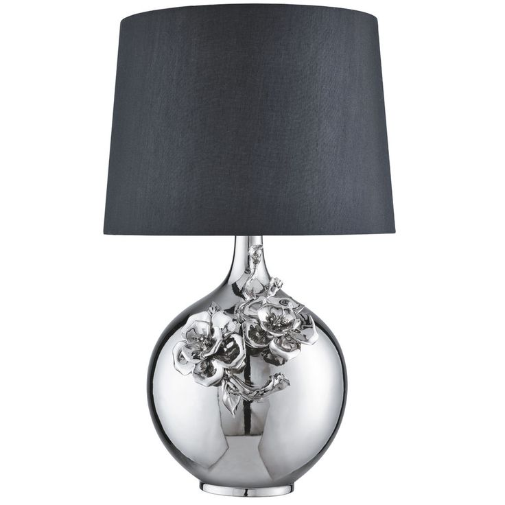 Searchlight 1845CC Chrome Table Lamp With Flower Decoration Design