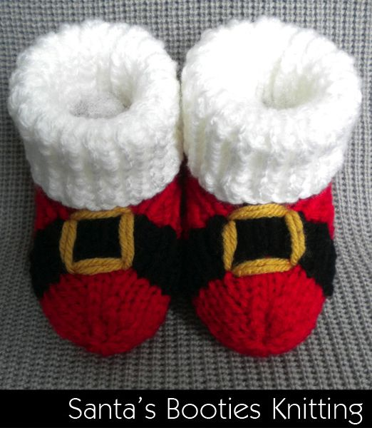 Santa Baby Booties Knitting Pattern